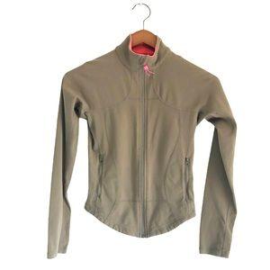 Lululemon Zip-Up Jacket Olive Green Pink Size 4
